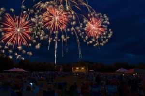 photo of fireworks going off outside at 17th annual kingfield pops concert
