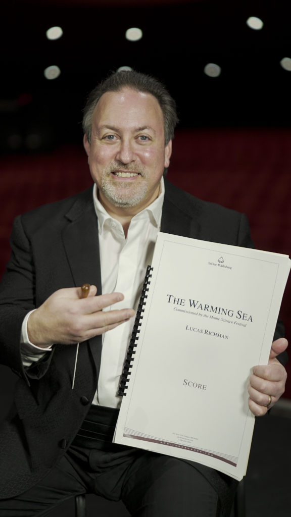 photo of lucas richman with 'the warming sea' score